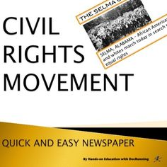 Skip the lecture.  Introduce your students to the Civil Rights Movement through this quick and easy newspaper project.   In this no-prep lesson plan, students take on the role of reporters to get the scoop on the Civil Rights Movement.  Working in groups, students investigate specific topics and create a newspaper in a 90-minute class.