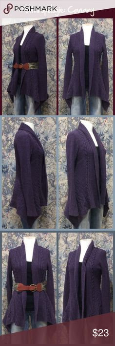 """Anthro """"Knitting Needles Cardigan"""" by Canary Purple and grey melange, wool/nylon blend, open front style, handkerchief style hem, full length sleeves, great condition.   ** Prices are as listed- this closet does not take offers in an effort to save time and take a stance against price inflation caused by offering """"discounts"""". No trades, bundle deals, paypal or condescending terms of endearment ** Anthropologie Sweaters Cardigans"""