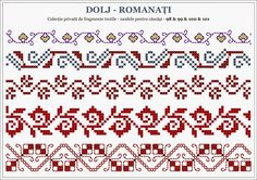 Romanian traditional motifs - OLTENIA: Dolj-Romanati Embroidery Sampler, Folk Embroidery, Cross Stitch Embroidery, Embroidery Patterns, Cross Stitch Borders, Cross Stitching, Cross Stitch Patterns, Knitting Charts, Knitting Patterns