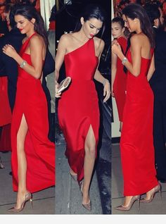 Inspired by Kendall Jenner Celebrity Dresses A Line Chiffon One Shoulder Red Side Slit Prom Dresses Evening Formal Gowns sold by Wedding store. Shop more products from Wedding store on Storenvy, the home of independent small businesses all over the world. Gala Dresses, Party Dresses, Evening Dresses, Chiffon Dresses, Elegant Dresses, Beautiful Dresses, Black Tie Dresses, Red Dress Shoes, Pink And Red Dress