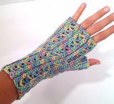Crochet Fingerless Gloves  Pastel Rainbow by DapperCatDesigns, $15.00