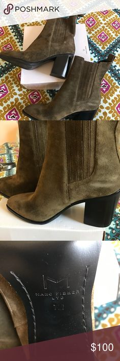Marc Fisher suede olive booties Size 7, new without tags. Dark olive green with a heel height of 3 inches. Marc Fisher Shoes Ankle Boots & Booties