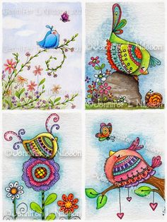 Set 4 Assorted Whimsical Bird Illustrated Art Note Cards with Envelopes. , via Etsy. Doodles Zentangles, Zentangle Patterns, Doodle Drawings, Doodle Art, Bird Illustration, Whimsical Art, Bird Art, Art Projects, Artsy