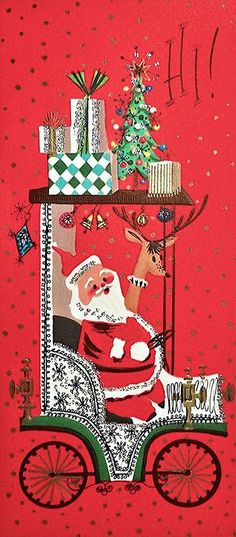 Glittered Santa Reindeer Drive The Old Car Vintage Christmas Card 1171 Vintage Christmas Images, Retro Christmas, Vintage Holiday, Christmas Pictures, Vintage Images, Christmas Decor, Vintage Greeting Cards, Christmas Greeting Cards, Christmas Greetings