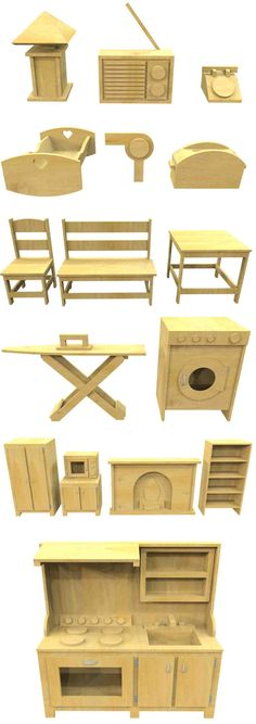 24 wooden play items you can build to fill up the inside of your child's next playhouse. Download the plan and get started today! #backyardplayhouse