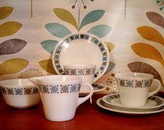 JAJ Pyrex Chelsea tea for two set, cups saucers side plates milk jug sugar bowl Pyrex Chelsea pattern, pyrex cups and saucers, vintage pyrex