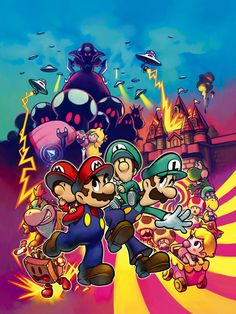 Mario & Luigi: Partners In Time Box Art Illustration