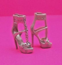 Barbie Shoes Model Muse The Look City Shine Doll Footwear Silver Strappy Heels