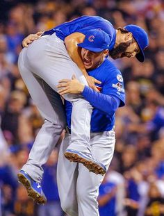 Jake Arrieta and Anthony Rizzo <3 10/7/15, Cubs win NL Wildcard Game.