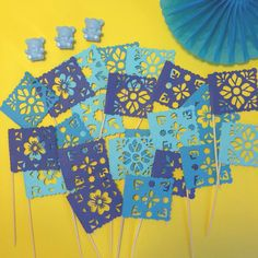 Papel Picado Mexican Baby Shower cupcake toppers   #caketopper #fiesta #decorations #cake #babyshower #mexicanparty #cupcakes