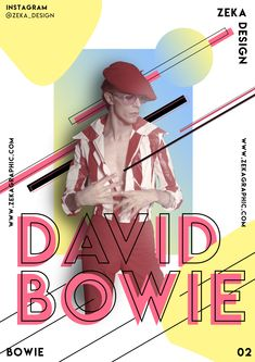 An accomplished actor, Bowie starred in The Man Who Fell to Earth in He was inducted into the Rock and Roll Hall of Fame in Shortly after releasing his final album, Bowie died from cancer on January Creative Poster Design, Creative Posters, Graphic Design Posters, Art Design, Graphic Design Illustration, Graphic Design Inspiration, Cover Design, Layout Design, David Bowie