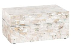 "11"" Mother-of-Pearl Foster Box, White Size: 11""L x 7""W x 5""H (28 cm L x 18 cm x…"