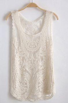 Oasáp - Sleeveless Round Neck Crocheted Lace Vest - Beige