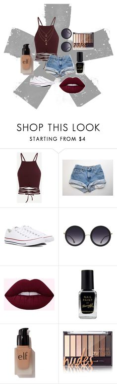 """summer 70's"" by halle-williams ❤ liked on Polyvore featuring Converse, Alice + Olivia, Barry M and e.l.f."