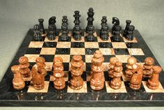 "16"" Marble Chess board set in rich and attractive Black & Tan colors, 3.5"" King has 1 1/8"" base, a lifelong gift for your chess player that is so beautiful on display when not being played! http://www.thegamesupply.com/marblealabasterchesssets #marblechesssets #alabasterchesssets"