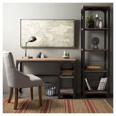 Industrial Navy Living Room - Franklin Desk with Shelves Gray The Industrial Shop. Cafe Industrial, Industrial Office, Industrial Furniture, Industrial Bedroom Decor, Industrial Boys Rooms, Industrial Bookshelf, Industrial Windows, Industrial Restaurant, Industrial Apartment