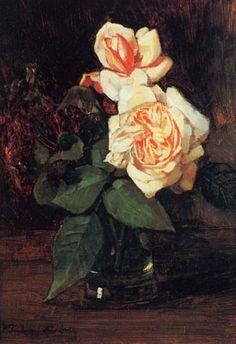 Teerosen und Flieder im Glas von Wilhelm Trübner