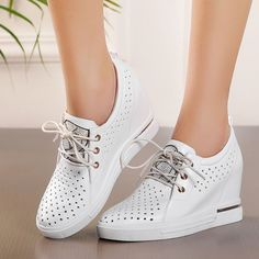 Fashion Womens Hollow Out Wedge Heel Oxford Leisure Lace Up Shoes Breathable