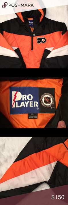 VTG Philadelphia Flyers Pro Player Jacket MENS L Pre-owned condition. Vintage Philadelphia Flyers Pro Player Pullover Hooded Jacket US MENS LARGE. Orange/Black color. Made in Korea. Shell and lining 100% Nylon, Fill is 100% Polyester. Please inspect all photos carefully. Thanks for viewing!   measurements taken laying flat:  pit to pit: 27 inches neck to bottom: 29 inches sleeve length: 24 inches Pro Player Jackets & Coats Performance Jackets