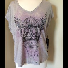 Rock & Republic Soft Tee NWT, soft, v-neck tee with crown graphic design. 55% polyester, 45% cotton. Size is Small, but not a tight fitting small--definitely has a little extra room. Colors are gray, black and light pink/lilac. Rock & Republic Tops Tees - Short Sleeve