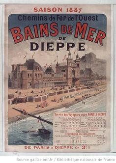 Saison 1887. Chemins de fer de l'Ouest. Bains de mer de Dieppe... : [affiche]…