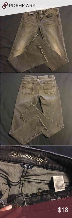 American eagle jeans 4 Women's American eagle jeans size 4. Good preowned condition. Color is gray wash American Eagle Outfitters Jeans Straight Leg