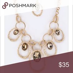 🎉HP🎉{The Marissa} Gold Tone Necklace Set Oval Crystal and Linked Hoops Necklace Set Necklace is approximately 20 inches +3 in ext Pendant drops approximately 3 inches Earrings are approximately 1 1/2 inches long Lead and Nickel Compliant......No holds, trades, or pp. Thank you! faith & sparkle Jewelry Necklaces