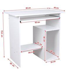 Songmics Escritorio de la Computadora Mesas de Ordenador Portateclado Ordenador Mobiliario de Oficina, 80 x 45 x 74cm, Blanco, LCD852W: Amazon.es: Hogar