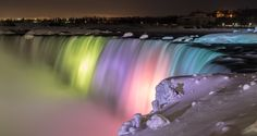 Niagara Falls at night with the coloured lights on them..   #NiagaraFalls  #waterfall #ontario #canada
