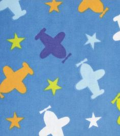 Snuggle Flannel Fabric Planes Blue