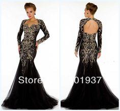 Black Lace Mermaid Prom Dress