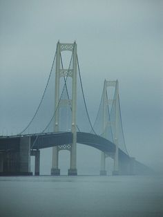 Mackinac Bridge In Fog
