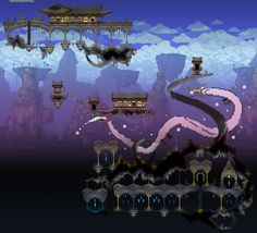 Terraria--dragon and floating arches