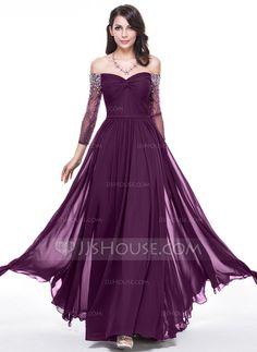 Corte A/Princesa Hombros caídos Hasta el suelo Chifón Vestido de noche con Volantes Bordado Lentejuelas (017056122)