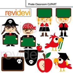 Pirate Classoom Clip Art / back to school clipart. Cute kids with chalkboards, apples, and more fun graphics in bright colors.Clipart set for teachers and educators. Great resource for any school and classroom projects such as for creating bulletin board, printable, worksheet, classroom decor, craft materials, activities and games, and for more educational and fun projects.Buy in bundle, and save a lot!Link-Pirate Clip art (3 packs) boys, girls, skull, shipYou will receive:- Each clipart ...