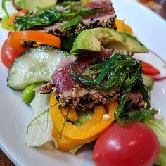 Delicious seared tuna salad! Seriously good.  #food #foodie #searedtuna #salad #foodstagram #foodporn #foods #yummy#yummyfood