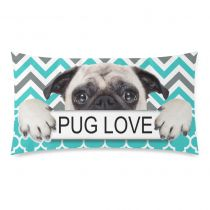 InterestPrint Puppy Pug Dog Pug Love Green Chevron Pattern Pillowcase Standard Size 20 x 30 Inches One Side - A Pug Dog with Pug Love in Hands Chevron Pillow Cases Cover Set Pet Shams Decorative Kids Pillows, Blue Pillows, Throw Pillow Cases, Throw Pillows, Cover Pillow, Cheap Decorative Pillows, Green Chevron, Pug Love, Love Symbols