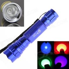 Ultrafire 4-in-1 7W 1-Mode Purple / Red / Green / Blue Light LED Portable Flashlight Torch - Blue. Note: We are currently unable to ship to addresses in HongKong, mainland of China. 1. Model: wf-501b 2 modes: 1. 3. Type: LED transmitter number: 1 4. Voltage: 3.6-4.2v 5 LED lamp life: 100000 hours. 6. Colors: blue, green, purple, red. Red light: 650nm, blue light: 450nm, green; 532nm, purple: 405nm. 7. Output luminous flux of 200 lumens. 8. Battery configuration: 1x 18650 lithium batteries…