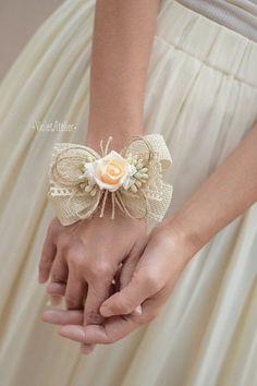 2 Bridesmaids Wrist Corsages, Rustic Burlap Flower Corsages, Mother of the Bride, Mother of the Groom, Braidsmaids Bracelets, Ivory Corsages -  - #decoration