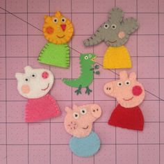 Peppa Pig inspired Felt Finger Puppets Friend Set with George Pig Emily Elephant Suzy Sheep and Candy Cat by CraftyMamiPig Pig Crafts, Felt Crafts, Crafts For Kids, Peppa E George, George Pig, Elephant Birthday, Pig Birthday, Peppa Pig Gifts, Aniversario Peppa Pig
