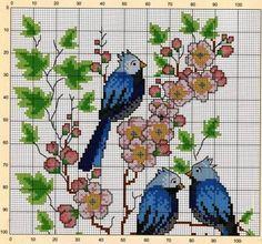 Райские птицы вышивка крестом схемы