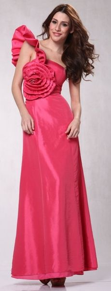 Unique Coral Formal Dress Prom One Shoulder Ruffle Rose Applique Taffeta