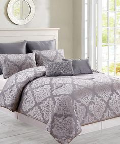 Look at this #zulilyfind! Dark Gray Catilie Five-Piece Oversize Reversible Comforter Set #zulilyfinds