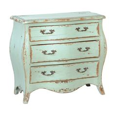antique, light mint green, small dresser. A lighter shade of green than the old door above the bed.