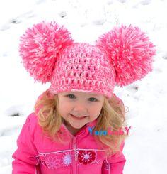 Pom Pom Hat Baby Girl Hat Toddler Hats Big Pom Poms by YumBaby, $19.95