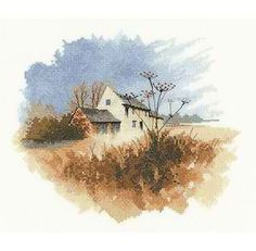 Heritage Crafts 14 count aida John Clayton Watercolours Old Farmhouse Counted Cross Stitch Kit Tour Eiffel, Crewel Embroidery, Cross Stitch Embroidery, John Clayton, Heritage Crafts, Cross Stitch Landscape, Counted Cross Stitch Kits, Watercolor Art, Needlework