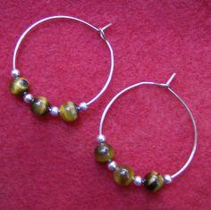 Tiger Eye Earrings  Copper Hoops Silver Beads by JewelryArtistry