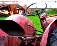 Studio Sale 25 Off Red Farm Tractor Fine by ourhouseabstractart, $14.24