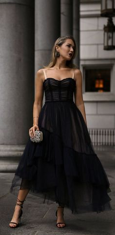What to wear to a Charity Gala // black lace tulle bodice style flowy midi dress, black strappy ankle wrap heels, embellished silver clutch { cinq a sept, formal outfit, classic style, what to wear, fashion blogger, black dress, wedding outf