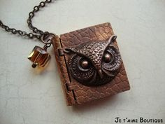 OWL POST - Vintage Harry Potter Inspired Book Locket Necklace In Burnished Copper With Swarovski Crystal Cube and Burned Scrolled Note
